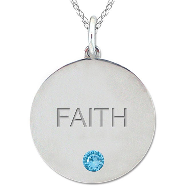 10k Gold December Birthstone Swiss Blue Topaz Engraved 'FAITH' Necklace