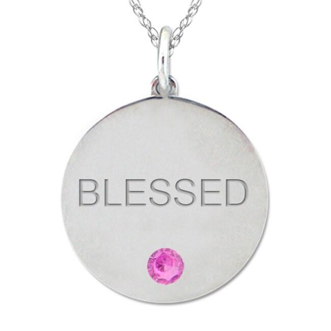 10k Gold October Birthstone Pink Tourmaline Engraved 'Blessed' Necklace