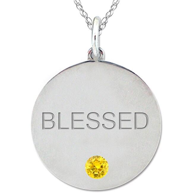 10k Gold November Birthstone Citrine Engraved 'BLESSED' Necklace