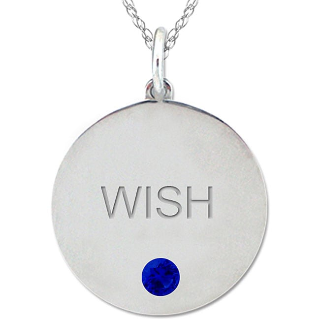 10k Gold September Birthstone Created Sapphire Engraved 'WISH' Necklace