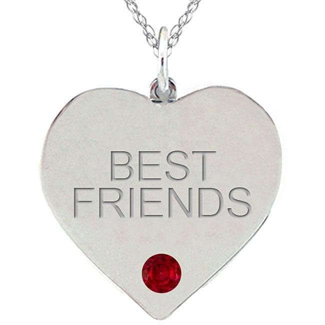 Birthstone Garnet BEST FRIENDS Heart Necklace