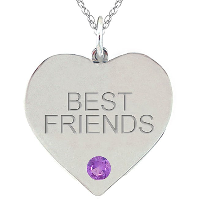 Birthstone Amethyst Engraved BEST FRIENDS Necklace
