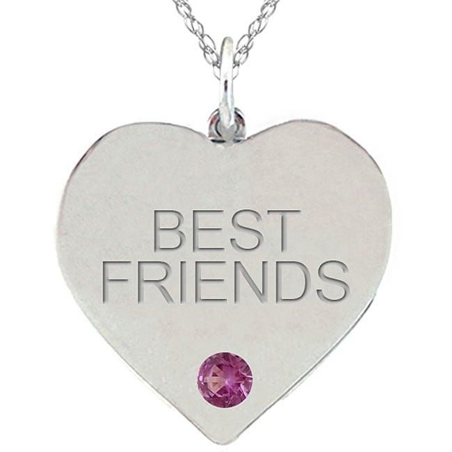 10k Gold June Birthstone Rhodolite BEST FRIENDS Heart Necklace