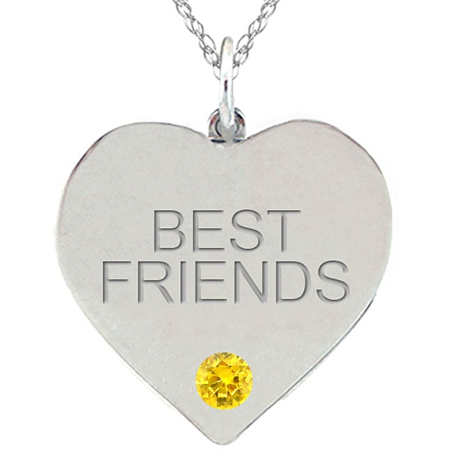 Birthstone Citrine Engraved BEST FRIENDS Necklace