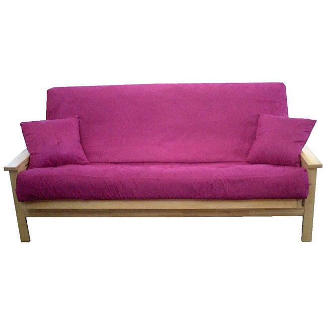 queen size microfiber purple 3 piece futon cover set 12434061 shopping the. Black Bedroom Furniture Sets. Home Design Ideas
