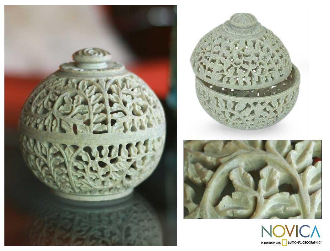 Soapstone 'Jasmine Rose' Jar (India)