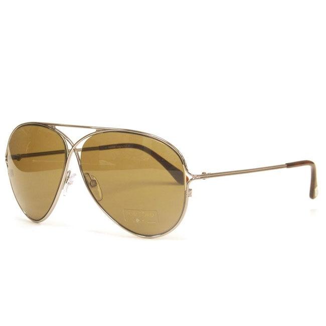 Tom Ford 'Peter TF 142/S' Unisex Gold Designer Aviator Sunglasses
