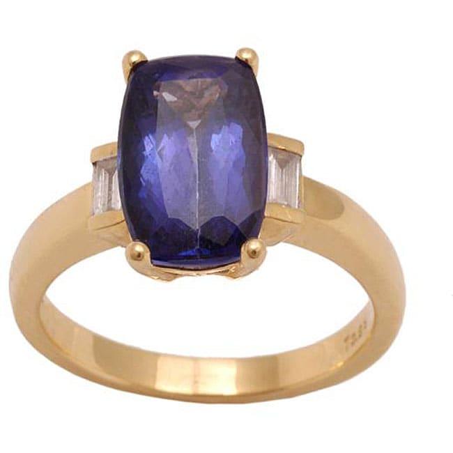 D'Yach 18k Yellow Gold Tanzanite and 1/8ct TDW Diamond Ring (G-H, SI)