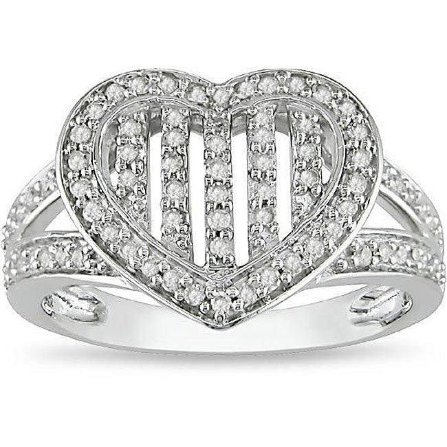 10k White Gold 1/3ct TDW Diamond Heart Ring (H-I, I2-I3)