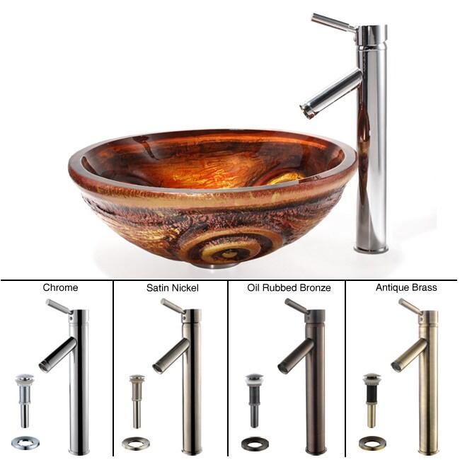 Kraus Tiger Eye Glass Vessel Sink/ Sheven Bathroom Faucet