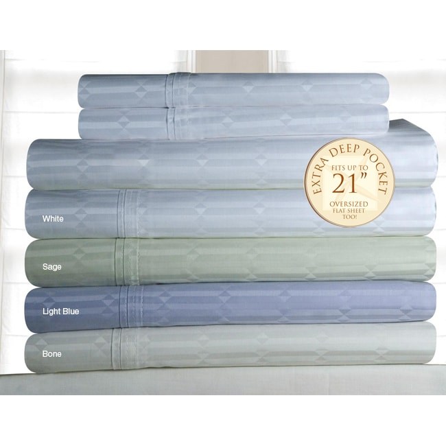 Pima Cotton 350 Thread Count Deep-fitted Dobby Sheet Set