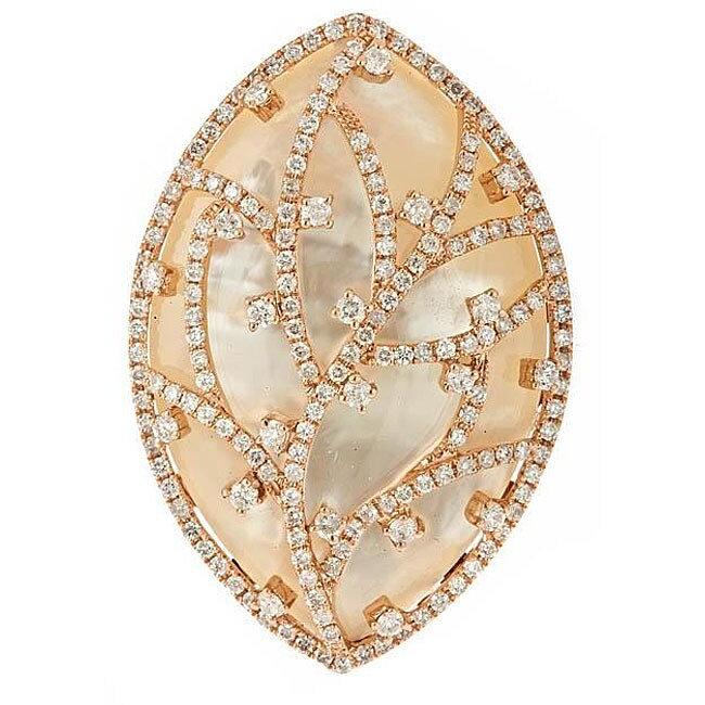 D'Yach 14k Gold Mother of Pearl and 2 1/10ct TDW Diamond Ring (G-H, IJ) (Size 7)