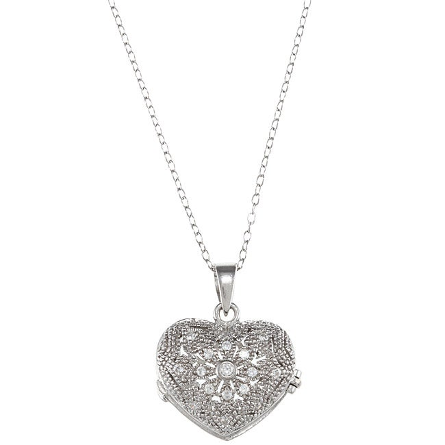 Eziba Collection Icz Stonez Sterling Silver Cubic Zirconia Flower Heart Locket Necklace at Sears.com