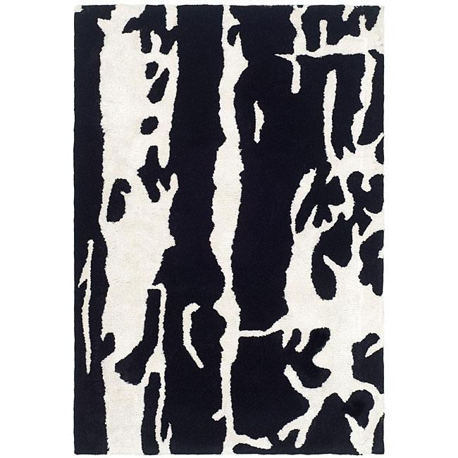 Safavieh Handmade Soho Deco Black/ White New Zealand Wool Rug (2' x 3')