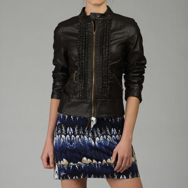 Miss Sixty Women's Ruffle-front Faux Leather Jacket - Overstock