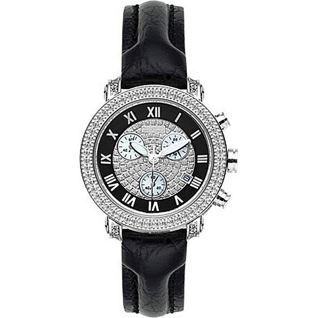 Joe Rodeo Women's Passion Black Leather Strap Diamond Watch