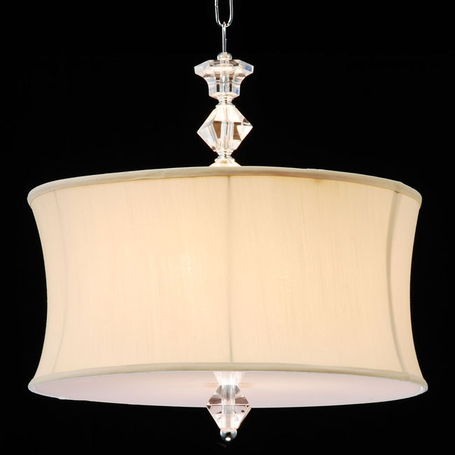 swag plug in chandelier with crystals and large white shade 6 lights. Black Bedroom Furniture Sets. Home Design Ideas