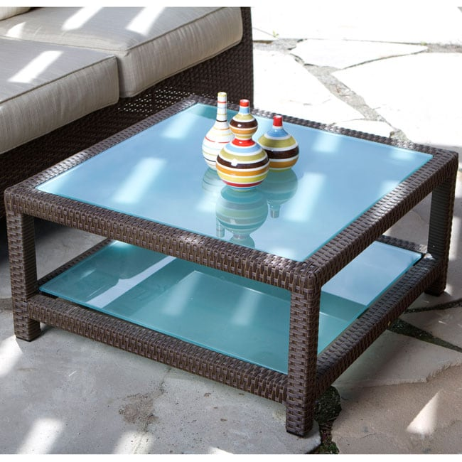 Wicker Coffee Table With Glass Top: Clara Woven Wicker Outdoor Glass Top Coffee Table