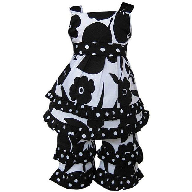 AnnLoren Black and White Floral American Girl Doll Outfit