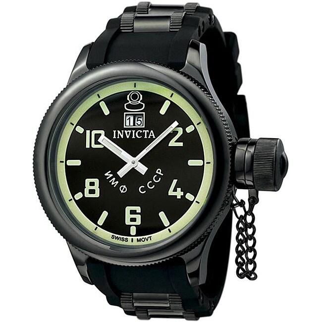 Invicta Men's Russian Diver QTZ Black Rubber Strap Watch