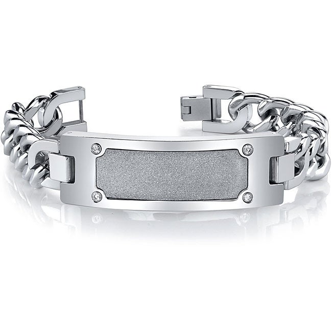 Stainless Steel Men's 'Diamond Brite' ID-style Bracelet