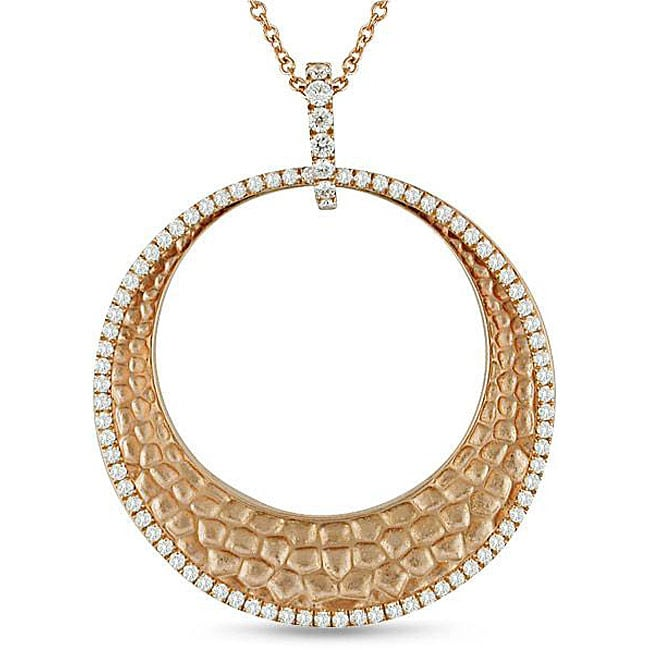 Miadora 18k Pink Gold 1ct TDW Diamond Circle Necklace (G-H, SI1-SI2)