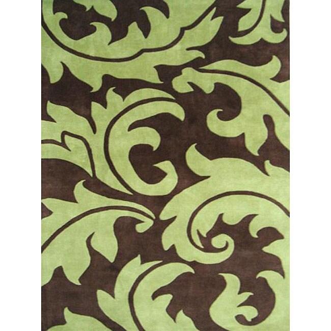 Alliyah Handmade Brown New Zealand Blend Wool Rug(5' x 8')