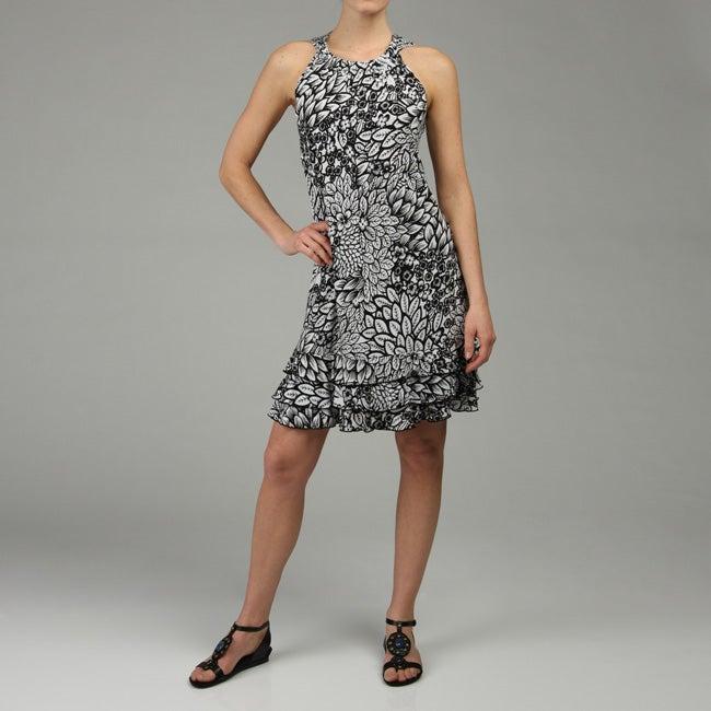 MSK Women's Gathered-neck Ruffle Hem Dress