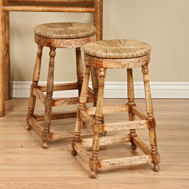 Cape Cod Rush Seat Stools Set Of 2 Indonesia