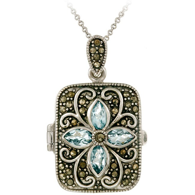 Glitzy Rocks Sterling Silver Marcasite and Blue Topaz Locket Necklace