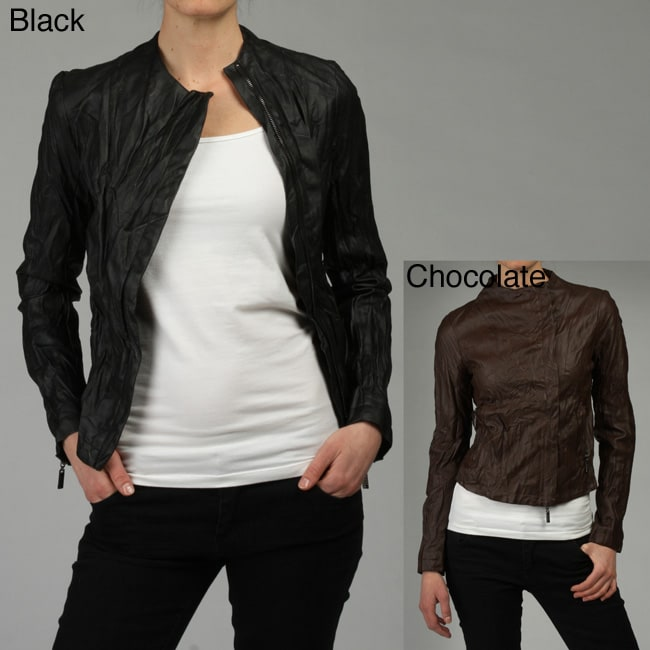 Love Stitch Women's Mandarin Collar Faux Leather Jacket
