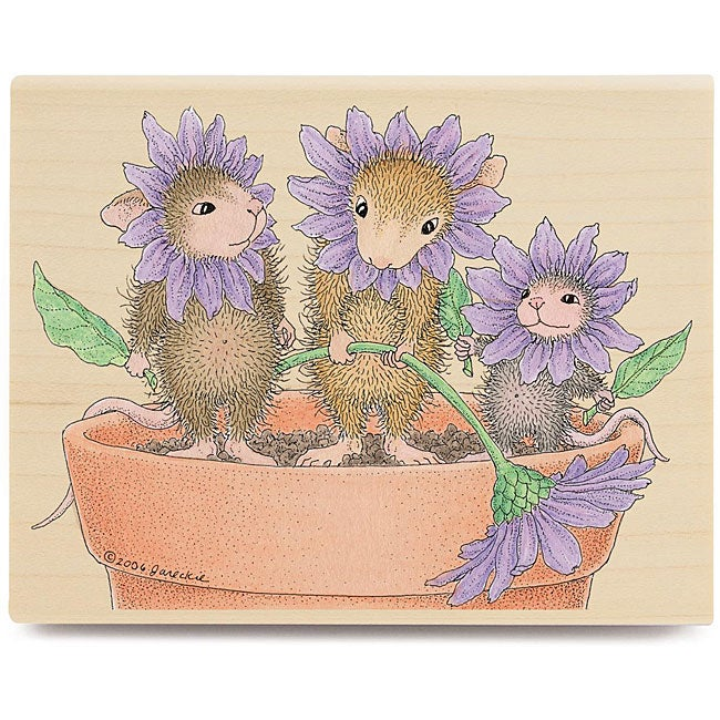 House Mouse 'Spring Blossoms' Wood-mounted Rubber Stamp