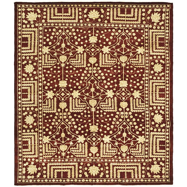 Indo Kazak Hand-knotted Maroon Wool Rug (6' x 9')