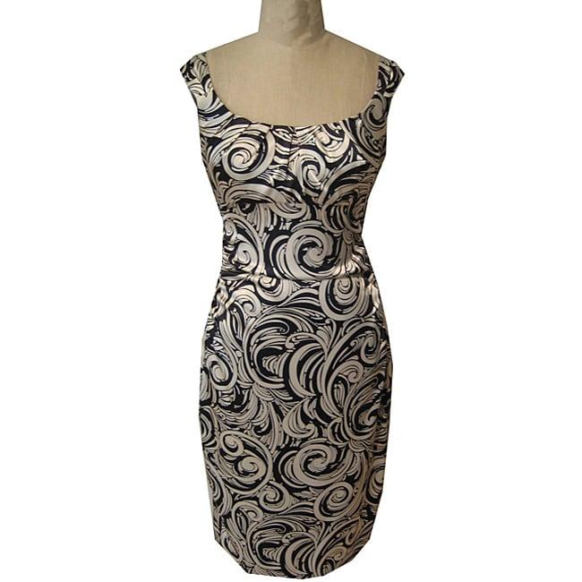 Maggy London Women's Black/ Ivory Stretch Satin Dress