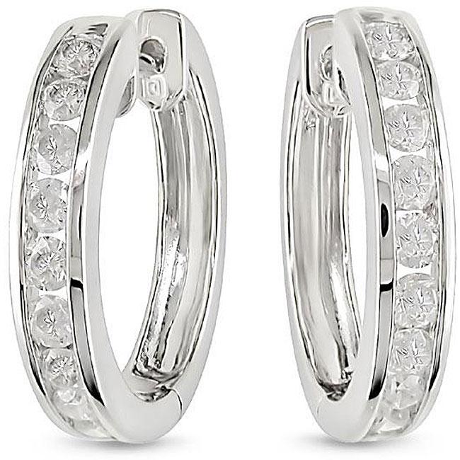 14k White Gold 1ct TDW Diamond Cuff Earrings (H-I, I2-I3)
