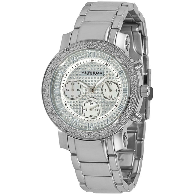 Overstock.com Akribos XXIV Women's Stainless Steel Diamond Chronograph Bracelet Watch at Sears.com