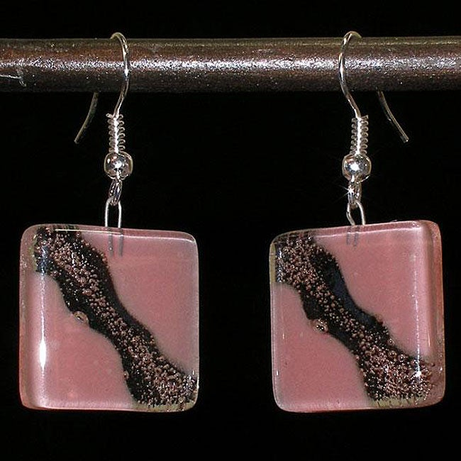 Radiant Blush Fused Glass Earrings (Chile)