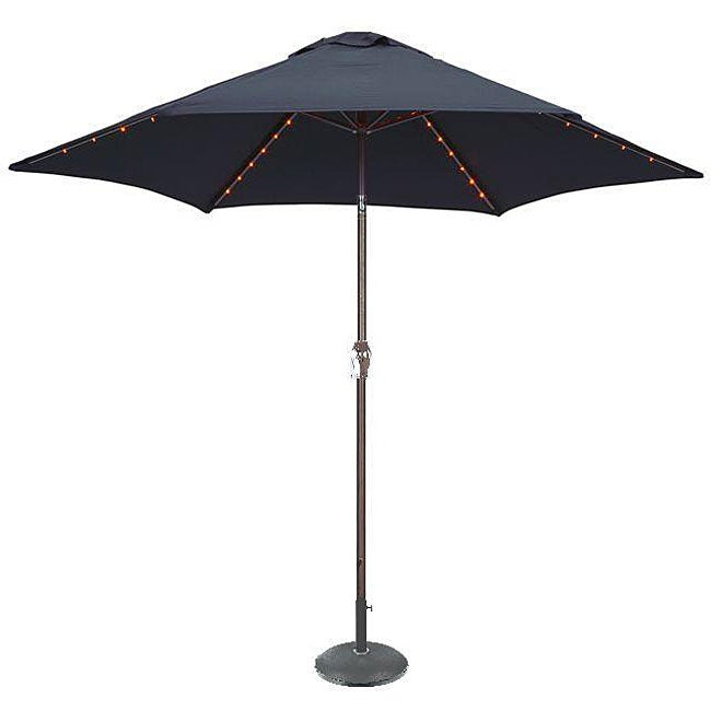 Blue Led Umbrella: LED Lighted Deluxe Navy Blue 9-foot Patio Umbrella