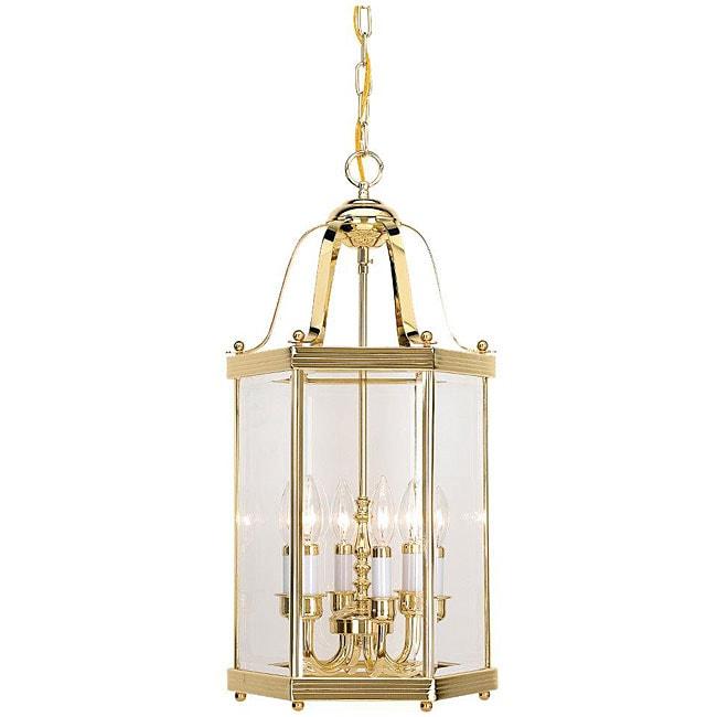 Foyer Lighting Overstock : Camden hall foyer six light polished brass pendant
