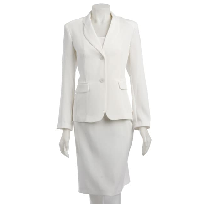 First Lady Women's 2-button Cream Skirt Suit