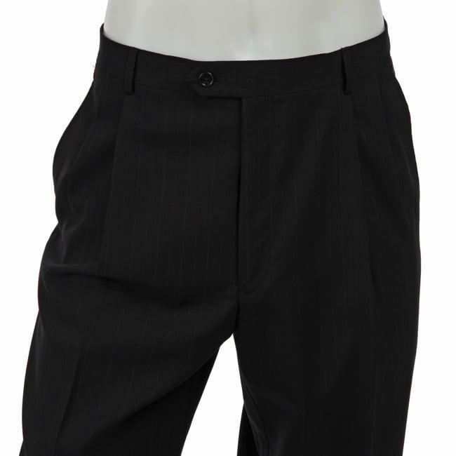 Palm Beach Men's Pleated Navy Striped Wool Dress Trousers