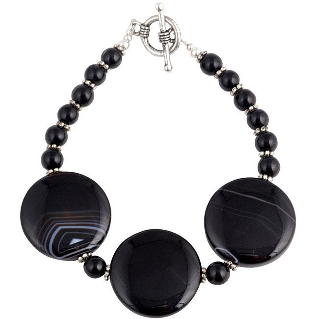 Silver and Black Onyx Medallion Bracelet (Thailand)