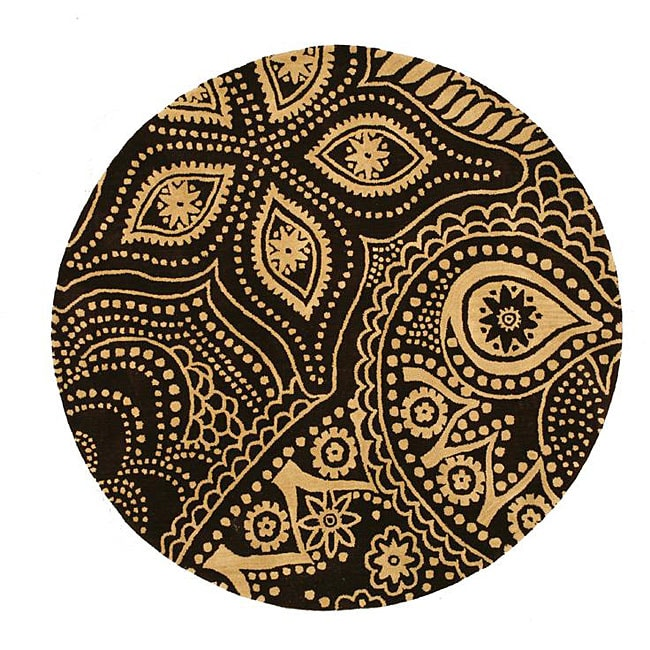 Hand-tufted Paisley Brown Wool Rug (6' Round)