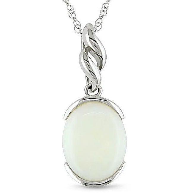 Miadora 10k White Gold Opal Fashion Necklace
