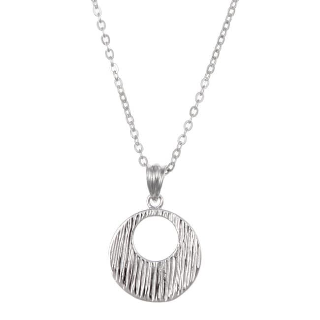 Kabella Sterling Silver Textured Medallion Necklace