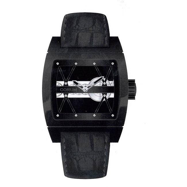 Corum 'Ti-Bridge' Men's Black Strap Watch