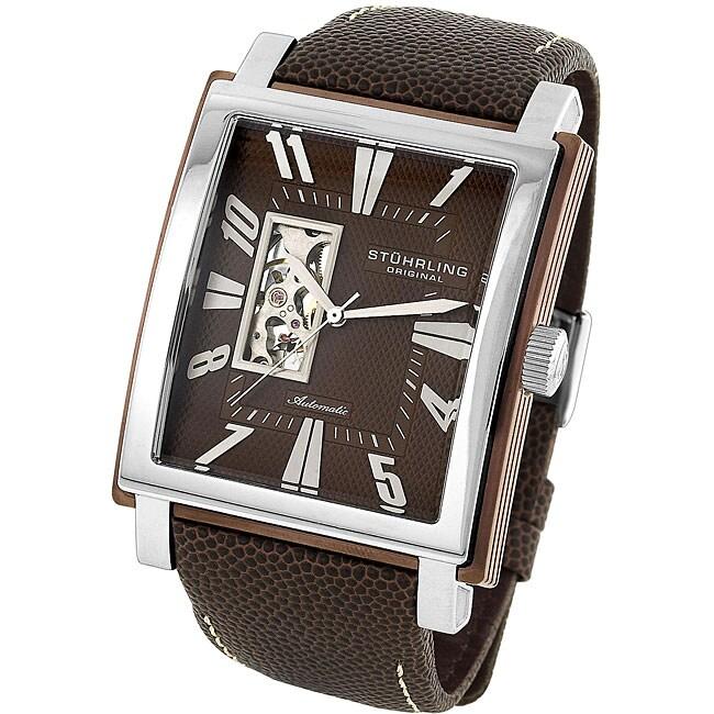 Stuhrling Original Men's 'Metropolitan' Brown Dial Automatic Watch