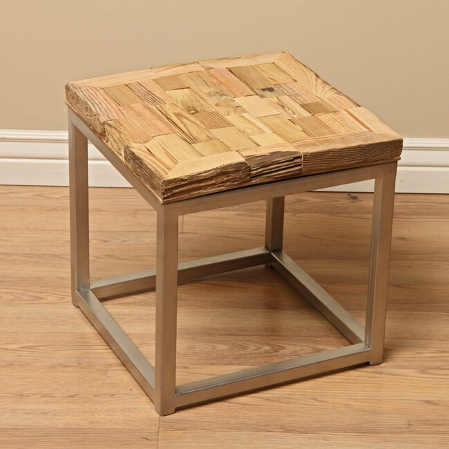 Indian Reclaimed Wood Coffee Table: Reclaimed Wood Mumbai End Table (India)