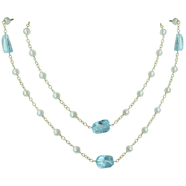 Gioelli 14k Yellow Gold Blue Topaz and Pearl Necklace (3.4 mm)
