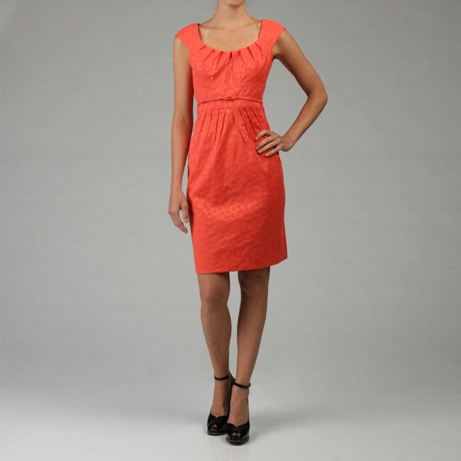 London Times Women's Cap Sleeve Jacquard Dress